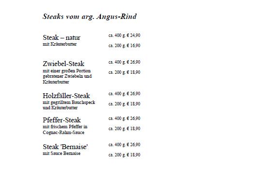 Steakkarte